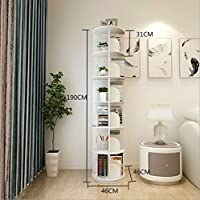 6 Tiers Versatile Round Wooden Rotating Swivel Bookshelf Bookcase Cabinet White 190CM