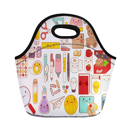 - Semtomn Lunch Tote Bag Collection of Lovely Baby Stationery Character Doodle Cute Pencil Reusable Neoprene Insulated Thermal Outdoor Picnic Lunchbox for Men Women