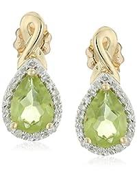 10k Yellow Gold Peridot and Diamond Pear Shape Earrings (1/10cttw, I-J Color, I3 Clarity)