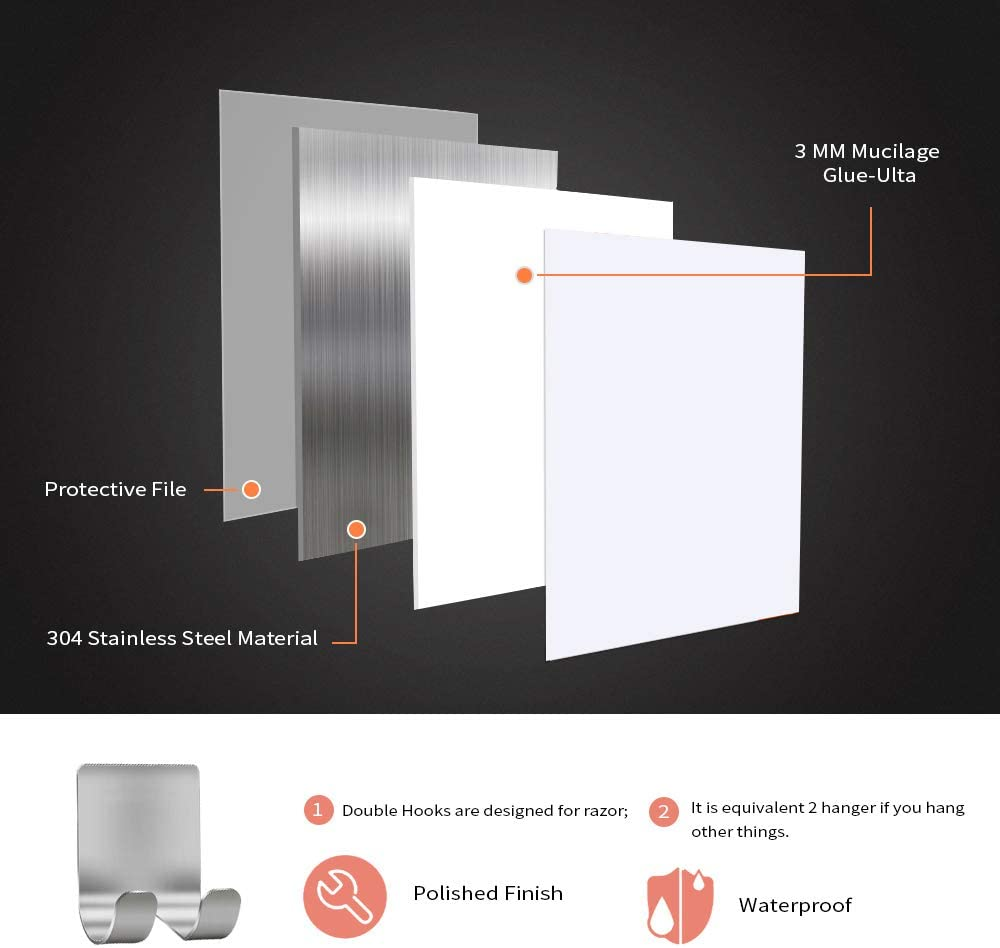 Razor Holder Shaver Hook Hanger Stand(2 Pack) Self Adhesive Stainless Steel Heavy Duty Utility Storage Hook,Shower Hook for Razor,Bathroom Kitchen Organizer for Plug Robe Towel Loofah Bathrobe Coat: Home & Kitchen