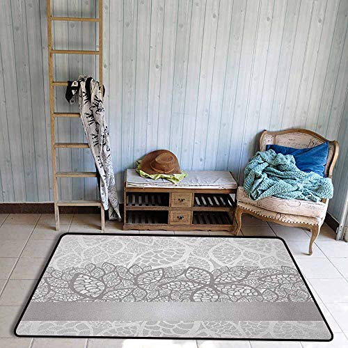 Indoor/Outdoor Rug,Grey Lace Inspired Flower Motifs Bridal Composition Stylized Leaves Wedding Theme,Children Crawling Bedroom Rug,5'3