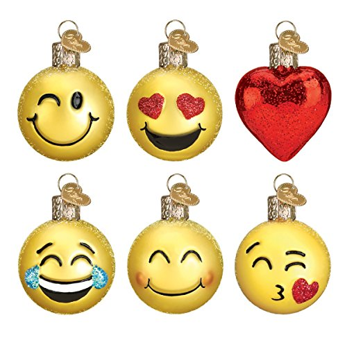 Old World Christmas Glass Blown Ornament with S-Hook and Gift Box, Emoji Collection (Set of - Ornament Box Set Christmas