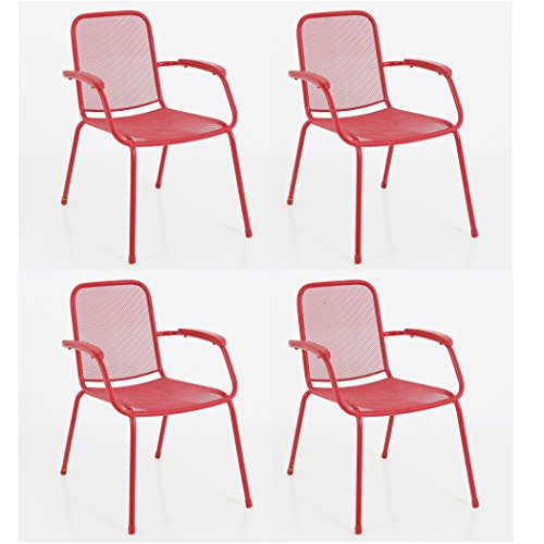 Royal Garden Milo Mesh Outdoor Patio Deck Stacking Arm Chair, Set of 4, Steel, Red, Commercial Grade