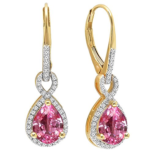 Dazzlingrock Collection 10K 8X6 MM Each Pear Lab Created Pink Sapphire & Round Diamond Ladies Dangling Earrings, Yellow Gold