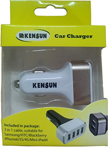 Price comparison product image Kensun® 4 Port USB Car Charger 9.6A Silver
