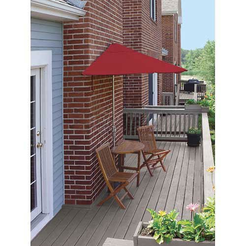 Blue Star Group Terrace Mates Bistro Standard Table Set w/ 9'-Wide OFF-THE-WALL BRELLA - Jockey Red Sunbrella (Red Sunbrella Canopy)
