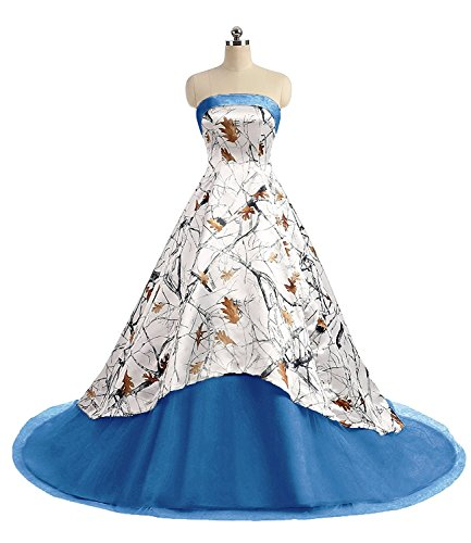 QY Bride Camo High Low Wedding Dresses Ball Quinceanera Gowns 16 Blue