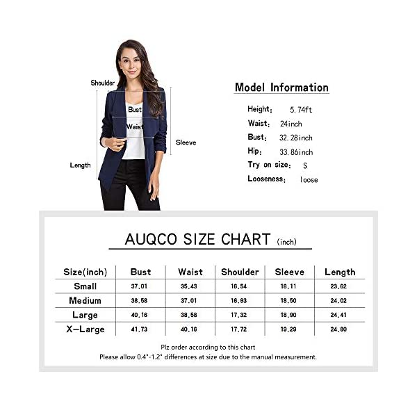 AUQCO Casual Open Front Blazer for Women Work Office Business Jacket Ruched 3/4 Sleeve Lightweight Draped Cardigan 19