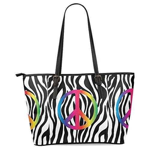 InterestPrint Peace Sign Tote Bag Leather Handle Bag Hand...
