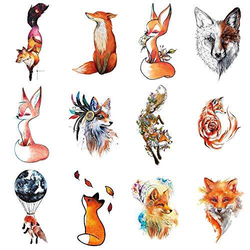 WYUEN 12 PCS/lot Wolf Temporary Tattoo Sticker for Women Men Fashion Body Art Adults Waterproof Hand Fake Tatoo 9.8X6cm FW12-01 (Fox)