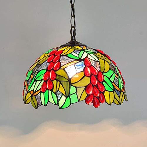 ChuanHan Tiffany Style Chandelier/Pendant Lamp, American Garden Stained Glass Red Grape Design Chandelier, Balcony Bedchamber Parlour Dining Room Art Pendant Light E27