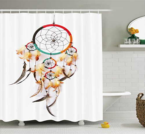 "Ambesonne Tribal Shower Curtain, Retro Style Bohemian Dreamcatcher Image Indigenous Culture Feather, Cloth Fabric Bathroom Decor Set with Hooks, 84"" Extra Long, Multicolor"