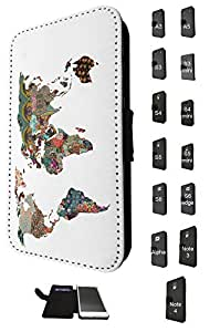 841 - Colorfull tropical world map Design Fashion Trend Credit Card Holder Purse Wallet Book Style Tpu Leather Flip Pouch Case Samsung Galaxy Note 4