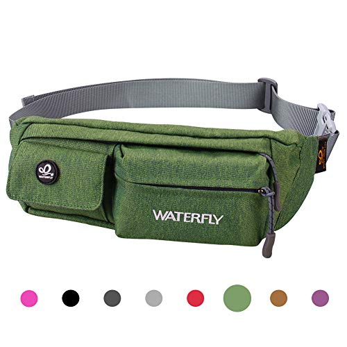 Waterfly Fanny Pack Slim Soft Polyester Water Resistant Waist Bag Pack for Man Women Carrying iPhone 8 Samsung S6 (Green)]()