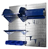 Wall Control 30-CC-200 GVBU Hobby Craft Pegboard Organizer Storage Kit with Metallic Pegboard and Blue Accessories