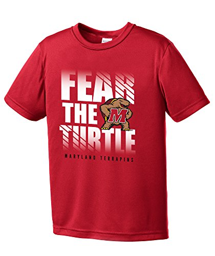 Basketball Maryland Terps - NCAA Maryland Terrapins Boys Fear Short Sleeve Polyester Competitor T-Shirt, Youth Large,Red