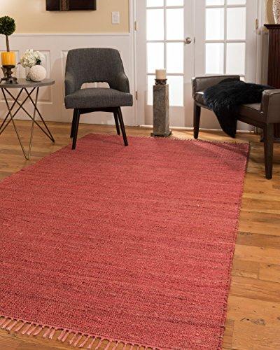 Natural Area Rugs 100% Natural Fiber Handmade Venice Jute Rectangular Rug (6' X 9') Red