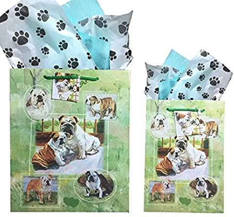 Dog Breed Gift Bags Set of Two with Tissue Paper (Bulldog) - Golden Retriever Wrapping Paper