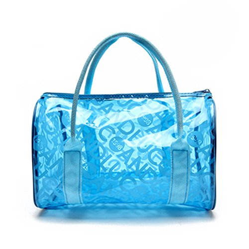 Eforstore 2015 Latest Summer Candy Color Clear Beach Tote Bags Large Stripe PVC Swim Handbag Jelly Bag with Zipped Closure for Women Girls (Blue)