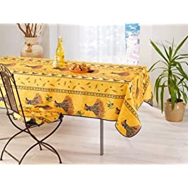 FRED OLIVIER Nappe Provençal Anti Taches 100% Polyester Bouquet de Blè Jaune Vif Couleur Jaune Vif, Format Rectangle, Dimension 240×150