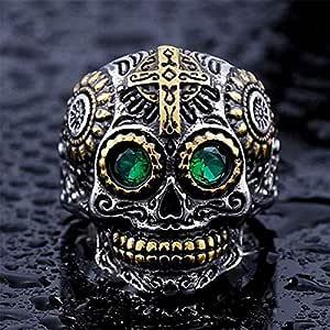 Men's Skull Ring Green Eye, Size