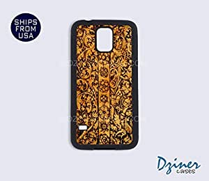 Galaxy S4 Heavy Duty Tough Case Cover - Carved Wood Print (NOT REAL WOOD)