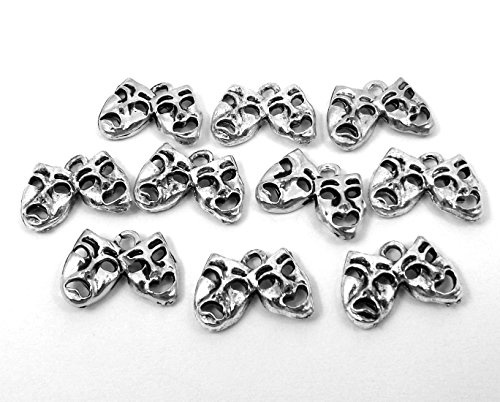 Set of Ten (10) Pewter Comedy/Tragedy Mask Charms (Mask Tragedy Charm Comedy)
