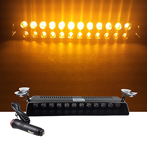 12V Car Truck Emergency Strobe Flash Light Sucker Dashboard Interior Windshield Warning Light Bar Current (12LED, Yellow)