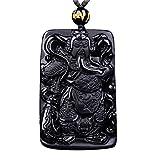 KOREA-JIAEN GuanYu Pendant Necklace Pure Natrural Obsidian Hand Carved Animal Necklace (GuanYu-2)
