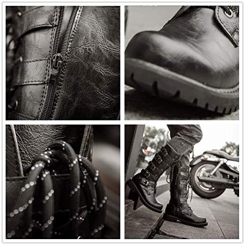 Zapatos Metal Hecho Moda Para Cuero Letrero Vaquero Four Impermeable De Seasons A Hombre Cinturón 44 Británica Mano Martin Botas Hebilla Altas Genuino Steampunk anxTzTF