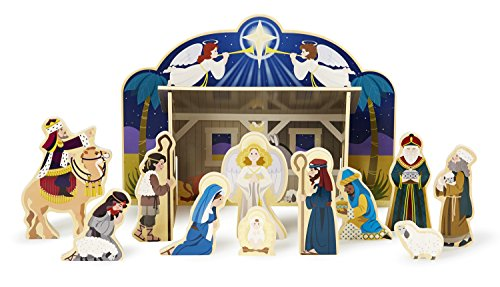 Melissa & Doug Classic Wooden Christmas Nativity Set With 4-Piece Stable and 11 Wooden Figures -