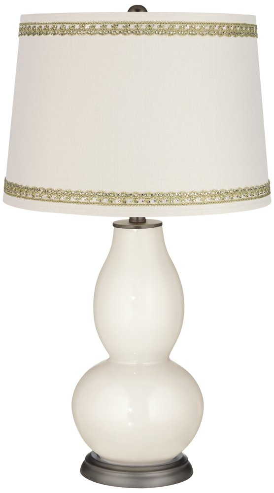 West Highland White Double Gourd Lamp with Rhinestone Lace Trim