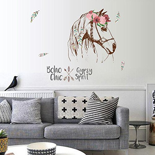 Wall Sticker Clearance, Boho Horse Head Wall Decal Home Room Decor Art Murals Stickers]()