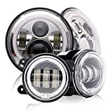 DOT Approved 7Inch Round Chrome Jeep Wrangler Projector Angel Eye LED headlights with DRL Amber turn singal Hi/Lo Beam + 4'' Halo Ring LED Fog Lights For Sahara rubicon Sport Cruiser FJ JK TJ LJ CJ