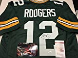 Aaron Rodgers Autographed Signed Green Bay Packers Custom Jersey JSA Witnessed & COA W/Photo Of Signing