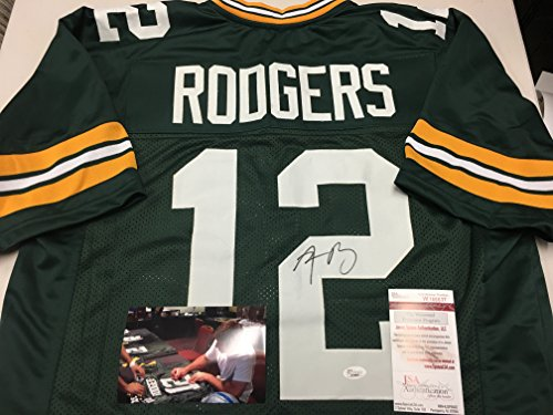 Aaron Rodgers Autographed Signed Green Bay Packers Green Custom Jersey JSA Witnessed & COA W/Photo Of Signing