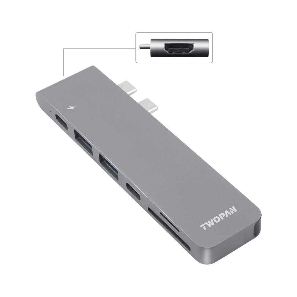 "TWOPAN USB C Hub T8-H, USB-C to USB 3.0/4K HDMI Adapter USB-C Digital AV Multiport Adapter Compatible with MacBook Air 2019/2018, MacBook Pro 2019/2018 13""/15"" (Thunderbolt 3 Port) Space Gray"