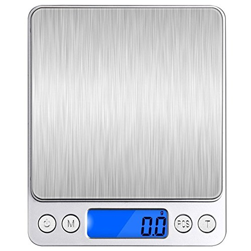 QBeau 500g/0.01g (0.001oz) Digital Pocket Weight Scale with Back-Lit LCD Display,Tare,PCS Features,Stainless Steel