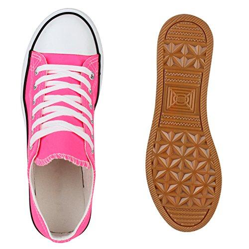 Stiefelparadies Damen Sneakers Pailletten Schuhe Spitze Häkeloptik Turnschuhe Sportschuhe Freizeitschuhe Sneaker Low Flats Flandell Neonpink