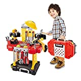 Young Choi's Kids Construction Toy Workbench for Toddlers, 110 Pieces Kids Power Workbench Construction Tool Bench Set with Toy Tool Drill and Helmet, Boys Toy Work Shop Tools Workbench for Toddlers