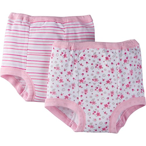 Gerber Toddler Girls' 4 Pack Training Pants, Lilac Flowers, 3T