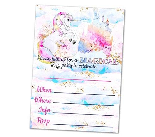 Unicorn party invitations 10 ct - 5x7