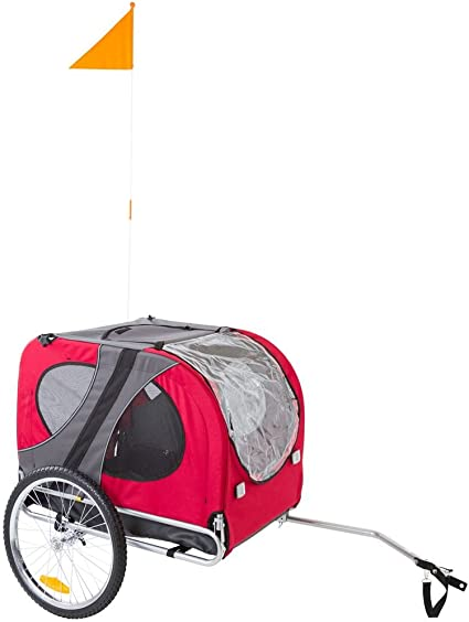 Rage Powersports Lucky Dog Red Pull-Behind Dog Bicycle Trailer - Best For Ventilation System