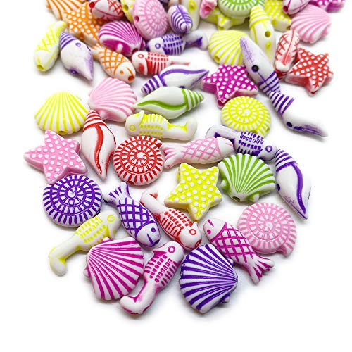 Beading Station 1.5oz 100pcs Assorted Arcylic Sea Shell Fish Beads 8~12mm ~ Jewelry Making ~