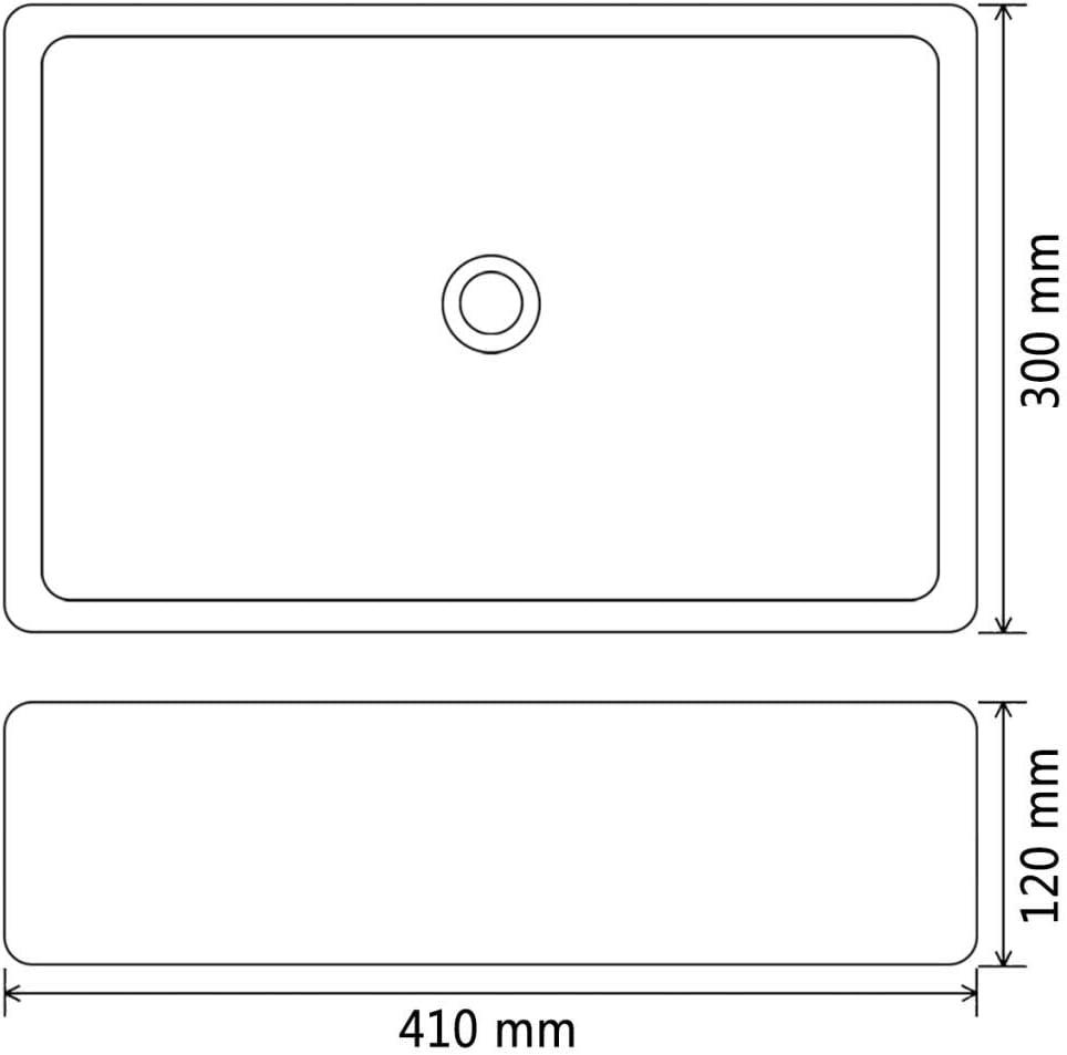 Nishore Vasque /à Poser de Salle de Bain Lavabo C/éramique Rectangulaire Noir 41 x 30 x 12 cm Salle de Bain Toilette ou vestiaire