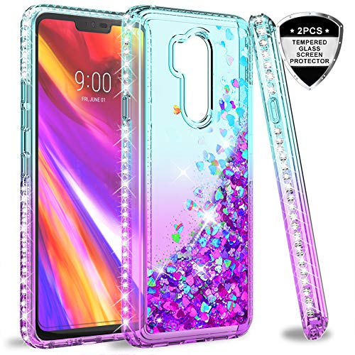 LG G7 ThinQ Case, LG G7 Case for Girls Women, LeYi Cute Shiny Glitter Moving Quicksand Clear TPU Protective Phone Case Cover for LG G7 / LG G7 ThinQ ZX Teal/Purple