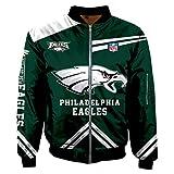 K3K Sports Men's Big Size Football Classic Jacket Autumn Winter Outdoor Long Sleeve Full Zipper Jacket Coat (XXX-Large, Philadelphia Eagles/)