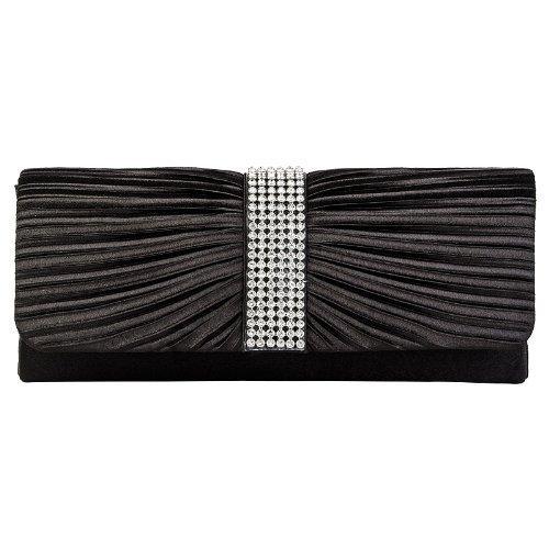 Pleated Satin Black Bow Prom Clutch Womens Bag Handbag Diamante Wedding Ladies Bridal xSnZt1Zw
