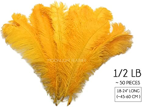 """10 Wing 18-24/"""" Golden Yellow Huge Ostrich Plumes Centerpiece Feathers Halloween"""