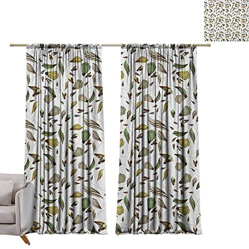 - berrly Curtains Window Drapes Floral,Earth Tones Bouquet Beauty Autumn Nature Flame of The Forest Petal, Dark Brown Fern Green Yellow W84 x L96 Blackout Window Curtain